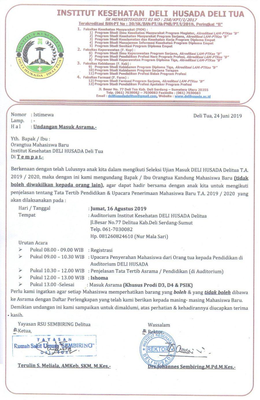 Undangan Masuk Asrama TA 2019/2020